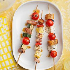 Let your guests get creative with combinations by offering an array of kabob ingredients that all grill nicely together. We used: -a sliced baguette -sliced precooked chicken sausage, kielbasa, and prosciutto -sliced zucchini and red pepper -cubed apple and pineapple -cherry tomatoes -mozzarella balls and cubes of Halloumi (a Mediterranean cheese with a high melting point, making it especially good for grilling)                  Also set out seasonings (salt, pepper, olive oil, vinegar) to…