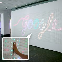 Google NYC lobby has an installation with 5880 arcade buttons as pixels! It uses AnyPixel.js - their open source software and hardware library which lets you use the web to create big, unusual, interactive displays out of all kinds of things. Interactive Display, Interactive Installation, Small Bathroom Remodel Cost, Arcade Buttons, Boho Bathroom, Modern Bathroom, Light Art Installation, Jack And Jill Bathroom, Lobby Design