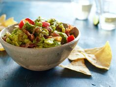 Spicy Bacon Guacamole recipe from Food Network Kitchen via Food Network Food Network Uk, Food Network Recipes, Cooking Recipes, What's Cooking, Appetizer Dips, Appetizer Recipes, Dip Recipes, Yummy Appetizers, Yummy Recipes