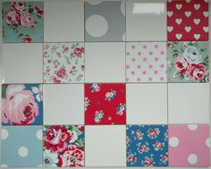 12 x 100mm Shabby Chic Ceramic Wall Bathroom or Kitchen Tiles handcrafted in Cath Kidston Patchwork by SimplyDivineThings