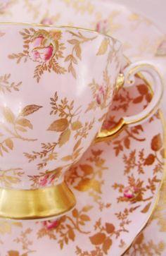 Vintage Fine Bone China Teacup, Pink and Gold Rose Pattern