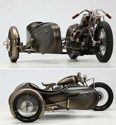 Steampunk motorbike and sidecar