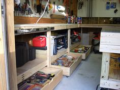 love the drawers on casters under bench...but I would make them with a little more toe clearance. Either by height or depth