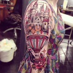 Hot air balloon into a castle | Tattoo