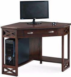 Space Saver Chocolate Oak Corner Laptop Computer Desk Office Study Table #spacesaver #computerdesk # studytable #officetable