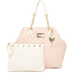 Betsey Johnson Trap Tote (78 AUD) ❤ liked on Polyvore featuring bags, handbags, tote bags, blush, betsey johnson tote bags, betsey johnson handbags, logo tote bags, white tote bag and tote bag purse