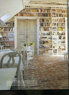 books & brick floor