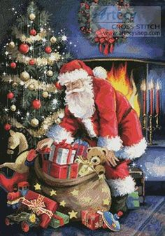 Santa at the Tree - Christmas cross stitch pattern designed by Tereena Clarke. Category: Santa.