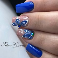 "See our internet site for even more info on ""acrylic nail art designs short"". It is actually an outstanding spot to find out more. Blue Nails, My Nails, Hair And Nails, Nail Art Blue, Beautiful Nail Designs, Beautiful Nail Art, Fabulous Nails, Perfect Nails, Cute Nail Art"