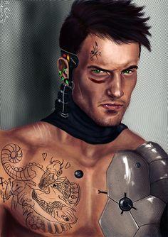 Cyborg, Cyberpunk, Shad by ~Zidartha on deviantART