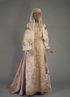Festival Costume of a Cossack Woman Late Century-Early Century Uralsk, Ural Region, Russia State Hermitage Museum Historical Costume, Historical Clothing, Historical Dress, Traditional Fashion, Traditional Dresses, Costume Russe, Court Dresses, Festival Costumes, Period Outfit