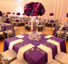What a great #centerpiece, using flowers and the very #trendy #radiant orchid color.