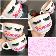 Polymer clay handmade homemade lashes mug makeup girly women princess queen