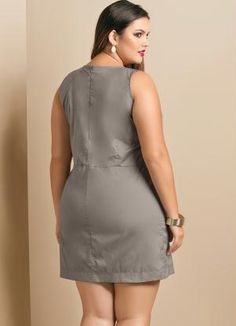Vestido Estilo Alfaiataria Plus Size Cinza - Quintess