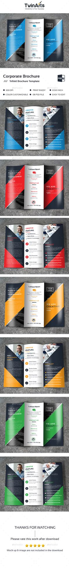 Trifold Brochure Design Template - Brochures Print Design Template PSD. Download here: https://graphicriver.net/item/trifold-brochure/19385249?ref=yinkira