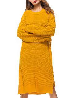 [US$71.09] Pure Color Sweater Dress #pure #color #sweater #dress