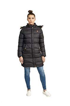 e76f10917eb Womens Brave Soul Long Fur Trimmed Hooded Padded Puffer Parka Winter Jacket  Coat UK 14   US 12  AUS 16  EU 42  Large Black - Price  (as of Jan 01