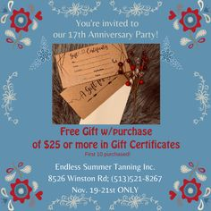 Airbrush Tanning, Gift Certificates, Youre Invited, Cincinnati, Free Gifts, Anniversary, Invitations, Party, Summer
