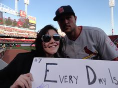 4.9.12-Matt Holliday came over and autographed my sign and I got a picture with him and Jaime Garcia!!! :)