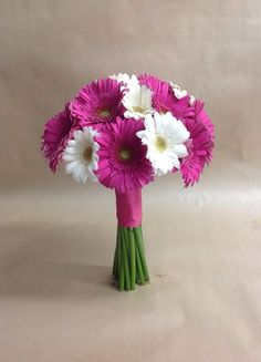 Pink and white bridal bouquet with gerbera daisies by Nancy at Belton hyvee.
