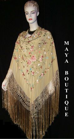Tan Embroidered Shawl by Maya Boutique