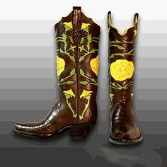 Yellow rose of Texas cowgirl boots. I need these on a personal level Custom Cowboy Boots, Cowgirl Boots, Western Chic, Cowgirl Style, Texans, Yellow Roses, Country Girls, Fashion Boots, Boat Shoes