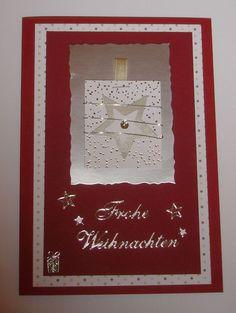 Weihnachtskarte -  rot silber mit Stern