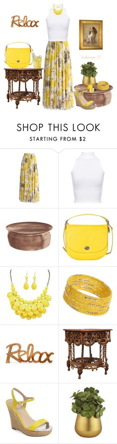 Relax in Yellow and White by amdavis1218 on Polyvore featuring WearAll, Chicwish, Charles by Charles David, Coach, Dorothy Perkins and CB2