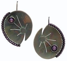 Earrings | Chihiro Makio.  Sterling silver and glass beads.