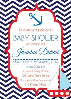Invitación para Baby Shower. Náutica. Invitación Baby por Pipetua
