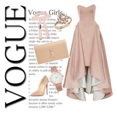 """""""Nude elegance"""" by fashion-for-treat ❤ liked on Polyvore featuring Christian Louboutin, Zac Posen, Yves Saint Laurent, Bloomingdale's, Larsson & Jennings and Cybele"""