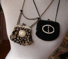 Vintage Silk Coin Purse Necklace with Clock and Old Lace Steampunk Necklace or Vintage Black Coin Purse with Rhinestone Buckle. $45.00, via Etsy.
