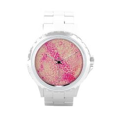 Pink Yellow Girly Watercolor Leopard Animal Print Wrist Watches