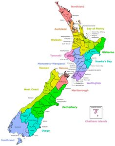 A map of New Zealand showing regional and district boundaries Capital Of New Zealand, Work In New Zealand, Map Of New Zealand, New Zealand Cities, New Zealand Beach, Auckland New Zealand, Chatham Islands, Lake Wanaka, South Island