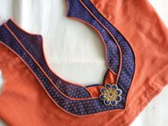 Easy patch work blouse design cutting and stitching Patch Work Blouse Designs, Kids Blouse Designs, Simple Blouse Designs, Stylish Blouse Design, Blouse Back Neck Designs, Fancy Blouse Designs, Hand Designs, Churidar Neck Designs, Designer Blouse Patterns