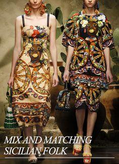 Dolce Runway Womenswear Mix Sicilian Folk SS13