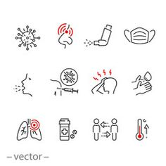 symptom cold virus icon set, infection flu, methods of protection and treatment influenza or pneumonia, thin line web symbols on white background - editable stroke vector illustration - Buy this stock vector and explore similar vectors at Adobe Stock Socail Media, Line Web, Thin Line, Logo Design, Graphic Design, Line Icon, Icon Set, Art Sketches, Crowns