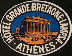 DP Vintage Posters - Hotel Grande Bretagne Lampsa Athens, Original Luggage Label Acropolis