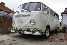 Our new addition Jimi has had a quick wash and been flowered up for a couple of snaps. Still need to do a proper deep clean but we think he's looking pretty cool. Wedding Car Hire, Wedding Company, Tiny Camper, Vw Camper, Preston Court, The Barnyard, White Vans, Civil Ceremony, Surrey