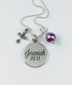Jeremiah 29:11 - Laser Engraved Charm Necklace - Stainless Steel Pendant w/ your color choice of pearl - Religious Jewelry by ChutneyBlakeDesigns on Etsy