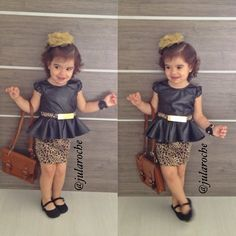 peplum shirt, wonder where can i find it for my daugher Dresses Kids Girl, Little Girl Outfits, Little Girl Fashion, Toddler Outfits, Kids Outfits, Cute Kids Fashion, Toddler Fashion, Baby Dress Design, Little Fashionista