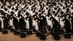 "Daniel Rozin ""Penguins Mirror"", 2015 450 stuffed animals, motors, control electronics, video camera, custom software, microcontroller, tin bases dimensions variable"