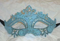 Pastel Lt Light Blue Princess Crystal Mardi Gras Masquerade Mask #MGMB