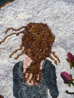 Rug Hooking Pattern on Linen Marie the Rose by VintageHeartPrims