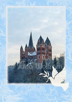 The famous Cathedral of Limburg on a frosty winter day is a beautiful sight.  This picture is suited very well as a Christmas motif.