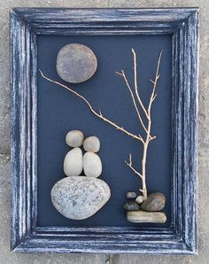 Pebble Art / Rock Art Couple on a rock under a by CrawfordBunch