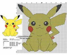Pikachu free back stitch cross stitch pattern
