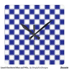 Lined Checkered Blue and White Square Wall Clock