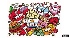 Coloring Cute Food - Easy and Kawaii Graffiti by Garbi KW