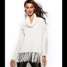 "Selling this ""Michael Kors Cream Cowl-Neck Fringe Sweater"" in my Poshmark closet! My username is: scoulon. #shopmycloset #poshmark #fashion #shopping #style #forsale #Michael Kors #Sweaters"